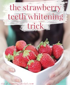 Beauty Bit: DIY Teeth Whitener | how to do it: 1.) Crush the strawberry to a pulp-y consistency  2.) Mix in a teaspoon of baking soda 3.) Apply mixture to teeth with a toothbrush or q-tip  4.) Wait 3-5 minutes 5.) Rinse thoroughly and brush teeth as usual.