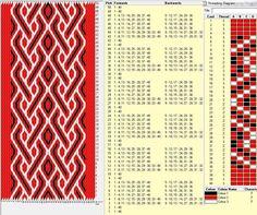 Crimson river, 40 cards, 3 colors, repeats every 8 rows, GTT ༺❁ Inkle Weaving, Inkle Loom, Card Weaving, Weaving Art, Card Patterns, Loom Patterns, Beading Patterns, Cross Stitch Patterns, Tablet Weaving Patterns