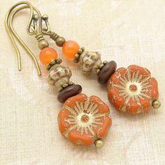 Boho Orange Flower Earrings in a Zen Stacked Style with Czech