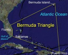The Bermuda Triangle (sometimes also referred to as the Devil's Triangle) is a stretch of the Atlantic Ocean bordered by a line from Florida to the islands of Bermuda, to Puerto Rico and then back to Florida. It is one of the biggest mysteries of our time