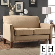 living room — ETHAN HOME Uptown Collection Peat Microfiber Loveseat | Overstock.com