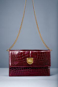 FRIDA  Ruby red crocodile clutch bag Ruby red nappa leather lining