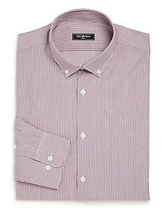 Saks Fifth Avenue Collection Modern Slim Fit Striped Shirt - Rosewood