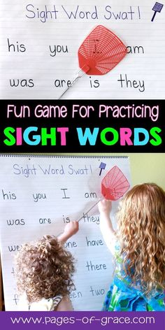 Interactive activity to help students master sight words! This game is great for literacy centers and independent practice for the classroom and homeschool. Great for advanced pre k, kindergarten, and first grade. Kids Sight Words, Teaching Sight Words, Sight Word Practice, Sight Word Games, Sight Word Activities, Kindergarten Sight Words, Kindergarten Vocabulary, Sight Word Centers, Alphabet Activities