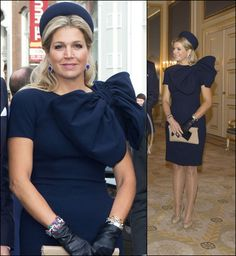 Máxima, donkerblauwe jurk, Jan Taminiau - Dress Envy. Fashion Moment. Blue. Navy. Tiaras. Royalty. Princesses. Queens. Bow Down, ladies. Princes. People. Noble.