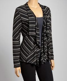 Love this Black & Gray Thin Stripe Open Cardigan - Plus by DJ Summers on #zulily, $20 !!  #zulilyfinds