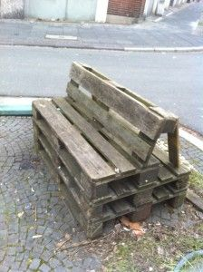 Another pallet bench with a sloped back  - thinking that with a hinge and rope you could have an adjustable recliner version.