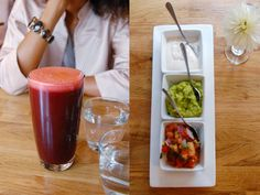 Lunch at raw vegan restaurant Rawlicious in New York. Starting with a beet juice and the Nacho Platter, the eatery's classic trio of guacamole, sour cream and salsa with green olives, green onions & nacho chips.