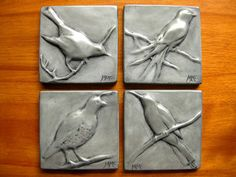 clay relief tiles | Nickel Songbird or Quail Bas Relief Tile Your Choice of One (4 x 4)