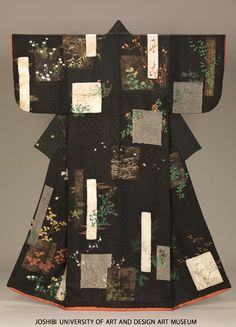 Kosode with seasonal flowers, shikishi and tanzaku poem slips, Edo Period, 19th century, Japan. Tie-dyeing (nui-shime, kanoko-shibori), embroidery and stenciled gold leaves (surihaku) on black figured silk satin (rinzu) ground.
