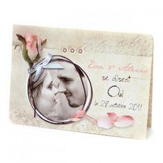 Papeterie - Faire-part Romantique / Rose & pétales