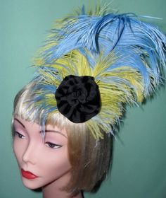 Sale was 40.00 Now 20.00 Ready To Ship Blue,Yellow and Black Feather Fascinator,Pin Up,Vargas,Burlesque,Old Hollywood,Feather Fascinator