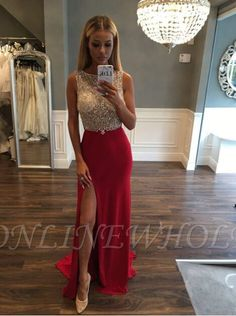 Gorgeous Crystals Front-Split Jewel Sleeveless Sweep-Train Prom Dress