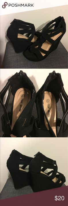 Wedges Brand new Black wedges size 8 fits more like a 7 1/2 Shoes Wedges