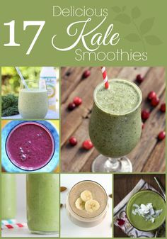 17 Delicious Kale Smoothies and other green smoothie recipes Kale Smoothies, Juice Smoothie, Breakfast Smoothies, Smoothie Drinks, Smoothie Recipes, Yummy Drinks, Healthy Drinks, Get Thin, Nutribullet Recipes