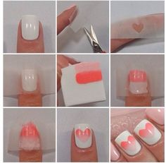 Heart nails DIY design