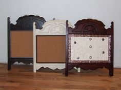 Old chair backs, could use cork or chalk board paint.