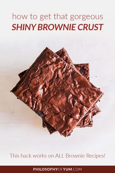 An incredible baking hack! Best part - this baking tip gives you a shiny crust on ANY brownie recipe! Click through to learn how to create a shiny, paper thin crust on your brownies. Home Bakery Business, Baking Business, Gluten Free Cupcakes, Gluten Free Brownies, Baking Brownies, Fancy Cupcakes, Baking Cupcakes, Baking Desserts, Vegan Brownie