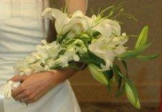 White Asiatic Lily with White Orchids & Bells of Ireland, Pagent Style Brides's Bouquet Lily Bouquet, Flower Bouquet Wedding, Long Flowers, Oriental Lily, Asiatic Lilies, White Orchids, Bride Bouquets, Boutonnieres, Oklahoma