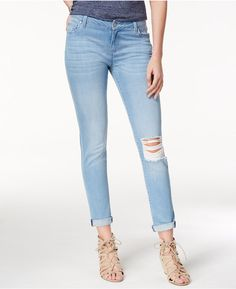 Celebrity Pink Juniors' Ripped Skinny Jeans  A ripped knee gives an eternally cool vibe to these classically styled skinny jeans from Celebrity Pink.