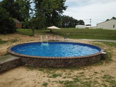 Stealth Semi In-Ground Round Pool - Style Gallery Natural Swimming Ponds, Swimming Pools Backyard, Lap Pools, Natural Pools, Indoor Pools, Swimming Holes, In Ground Trampoline, In Ground Pools, Diy Pool