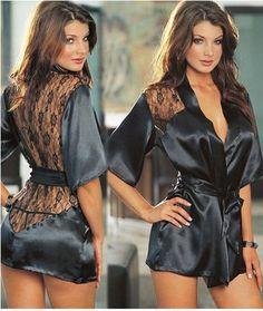 BNWT WOMENS BLACK SHEER LACE ROBE NIGHT DRESS DRESSING GOWN SLEEPWEAR NIGHTWEAR  | eBay
