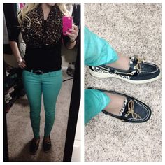Cute semi-casual work outfit - colored jeans, cheetah sperry topsider slip-ons, cheetah infinity scarf, loose curls... You can wear just about any colored jean or slacks with this outfit.
