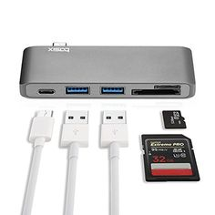 USB C Hub Multiport Type C Hub Adapter with Two USB 30 Ports TypeC Charging Port SDMicro SD Card Reader for MacBook and ChromeBook Pixel Space Grey -- Visit the image link more details. (This is an affiliate link)