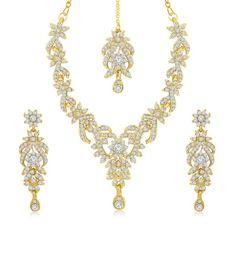 Sukkhi Trendy Gold Plated Australian Diamond Stone Studded Necklace Set, http://www.snapdeal.com/product/sukkhi-trendy-gold-plated-australian/1839997133
