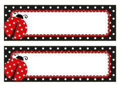 Set includes 3 sets of name tags and labels. - Red polka dot name tags and labels - Black polka dot name tags and labels - Green polka dot name tags and labels Can be mixed and matched. Perfect for ladybug themed classroom. Classroom Name Tags, Classroom Themes, Ladybug Crafts, Ladybug Party, Name Tag Templates, Nametags For Kids, Boarders And Frames, School Labels, Scrapbook Embellishments