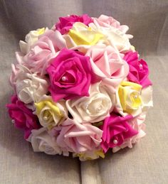 Multi coloured poly foam roses bouquet by Cathey's flowers