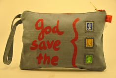 Textile zip pochette clutch purse God Save The Queen di comivishop, €35.00