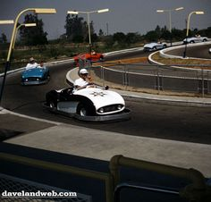 """Disneyland's Autopia originally had no center guide rail and the cars had bumpers. Kids who got out of line were promptly """"pulled over."""""""