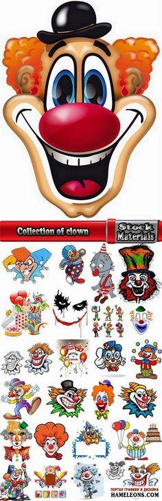 Яркие веселые клоуны - векторный клипарт   Vector joker clown