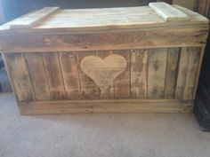 Wooden chest, wooden box, wooden trunk, toy box, ottoman. Handmade from reclaimed wood by Tŷ-Hapus available on Etsy.