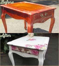 How to Decoupage Old Furniture DIY Tutorial with video #diy, #furniture, #repurpose