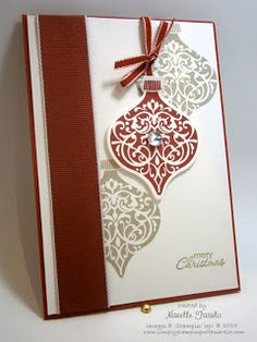 SU! Ornament Keepsakes stamp set; colors are Cherry Cobbler and Crumb cake - Narelle Fasulo
