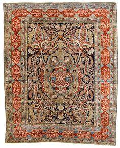 Heriz silk 5ft. 9in. x 4ft. 8in. Persia mid-19th century