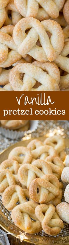 Vanilla Pretzel Cookies ~ a crisp little butter cookie loaded with vanilla beans and topped with sparkly coarse sugar in a fun festive shape! savingdessert.com #savingroomfordessert #Christmascookies #cookie #pretzelcookies #dessert #holidaydessert #cookies #Christmas