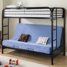 Learn more about the Coaster Fordham Twin Over Full Futon Metal Bunk Bed and the features included with this pretty furniture piece on Las Vegas Furniture Online. Toddler Bunk Beds, Bunk Beds For Boys Room, Bunk Beds With Stairs, Cool Bunk Beds, Kid Beds, Loft Beds, Bed Stairs, Girl Room, Black Bunk Beds