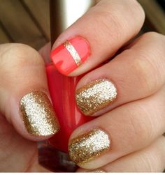 I love gold glitter nail polish. Its so perfect in the summer with bright colors. It looks great against bronzed skin.