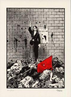 28 de Maio de 1871. Le Mur des Fédérés Comic Book Heroes, Comic Books Art, Comic Art, Book Art, 28 Mai, Cartoon Art, Graphic Art, Politics, Graphic Novels