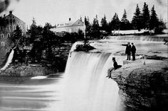 View of Rideau Falls, Ottawa. The buildings in the background are the McKay and McKinnon cloth mill. Largest Countries, Photo Archive, Ottawa, Niagara Falls, Ontario, North America, Cute Pictures, Waterfall, Canada