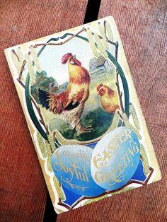 Antique Easter Postcard 1910 Rooster Chicken Easter Eggs Joyful Easter Greetings #Easter...    via pinterest