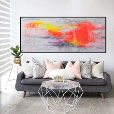 72x30 extra large Abstract Painting hot pink by ElenasArtStudio