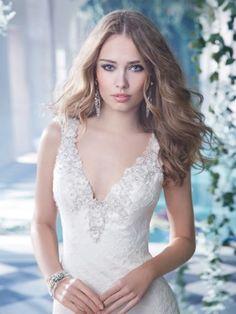 A-Lijn/Prinses V-neck Beading Hof Sleep Kant Wedding Jurkje