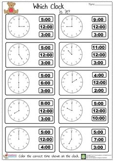 telling time worksheet for kindergarten and first graders