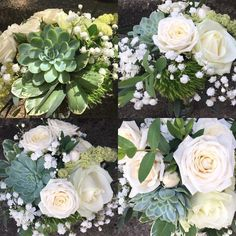 White and green flowers. Roses, Gyps and Echeverie! Green Flowers, Floral Wreath, Roses, Wreaths, Home Decor, Flower Crowns, Pink, Door Wreaths, Rose