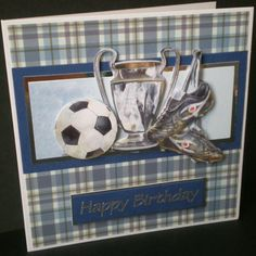 male birthday card football handmade blue soccer card by jujucards, £1.75