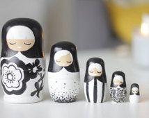 Set of Black & White Nesting Dolls